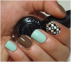 Mint with brown skittlette manicure