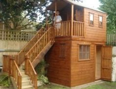 Wooden Playhouse With Storage Shed Underneath