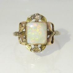 Antique Art Nouveau 1910's Opal Ring with flower & Bow Adornment, Multi-tone Gold