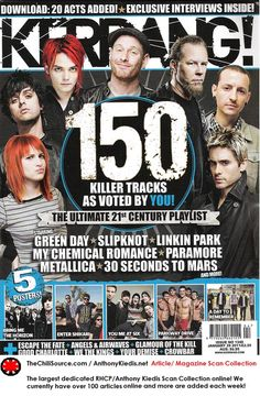 This is another magazine cover of the popular, alternative music magazine, 'Kerrang! The main colours in this cover are light blue, black, white and red. These are very basic colours and don't give many outstanding or eye-catching viewpoints. Magazine Cover Layout, Magazine Layouts, Magazine Covers, Remember Day, Music Magazines, Bring Me The Horizon, Alternative Music, Linkin Park, Paramore