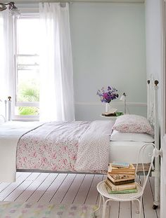 A Cottage Chic Home Tour How fabulous is this cottage bedroom? I have that duvet cover! I long for everything else. That vintage chair is just fabulous and I love the colours on that rug. I am SO jealous of...
