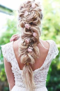 Wedding hairstyle ideas for the bride - Haare und Beauty - Hochzeitsfrisuren-braided wedding updo-Wedding Hairstyles Bridal Braids, Bridal Updo, Wedding Braids, Loose Hairstyles, Bride Hairstyles, Flower Hairstyles, Fishtail Hairstyles, Fishtail Braids, Rope Braid