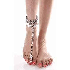 Silver anklets and toe ring go well with any casual dress for women, occidental or oriental. Traditionally, the wearing of an anklet is an . Ankle Braclets, Bracelets, Toe Ring Designs, Crochet Barefoot Sandals, Ankle Chain, Foot Toe, Silver Anklets, Pretty Toes, Bare Foot Sandals