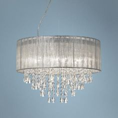 """I want to add a feminine touch to my craft room. I love this light! Metairie 20"""" Wide Silver Fabric Crystal Chandelier - #W7974 