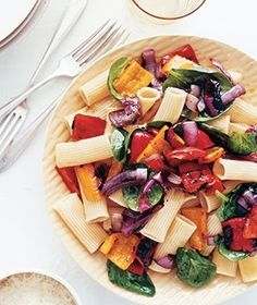 Ingredients  12 ounces (4 to 5 cups) rigatoni  2 medium red onions, sliced into 1/2-inch-thick rings  2 large red bell peppers