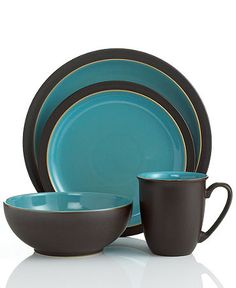 Denby Dinnerware, Duets Brown and Turquoise 4 Piece Place Setting - Casual Dinnerware - Dining & Entertaining - Macys Bridal and Wedding Registry Casual Dinnerware, Dinnerware Sets, Benjamin Moore, Turquoise Kitchen Decor, Denby Pottery, Gold Kitchen, Kitchen Ware, Kitchen Stuff, Kitchen Tools