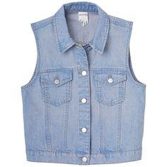Johanna vest (475 UYU) ❤ liked on Polyvore featuring outerwear, vests, tops, jackets, blue waistcoat, blue vest, monki, vest waistcoat and pocket vest