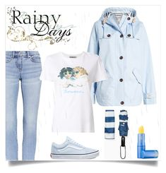 """""""Puddle Jumper: Rainy Day Outfit"""" by freida-adams ❤ liked on Polyvore featuring Joules, Fiorucci, Vans and Lipstick Queen"""
