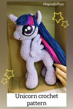 Unicorn (pony) crochet pattern is an 60 pages PDF pattern (with step by step photos) - Available in English. Size toy inch tall when made with the indicated or similar yarn. Crochet Pony, Crochet Eyes, Crochet Unicorn, Crochet Hooks, Double Crochet, Single Crochet, My Little Pony Plush, Unicorn Doll, Sewing Basics