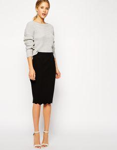 asos. scalloped pencil skirt