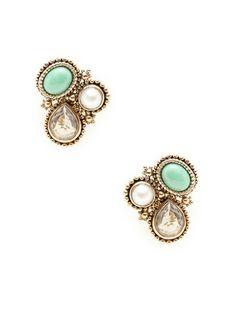 Green Jade & Crystal Quartz Geometric Earrings