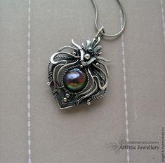 "Купить кулон ""SIRIUS"" (серебро, барочный жемчуг) - серебряные украшения, серебряные серьги"