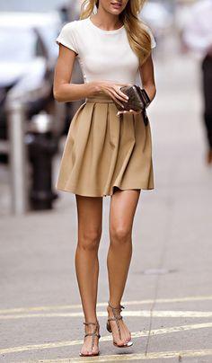 beige skirt + white shirt + sandals