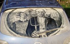 This depiction of American Gothic better be on an American car. #InkedMagazine #art #dirt #car #dirtycar #cool