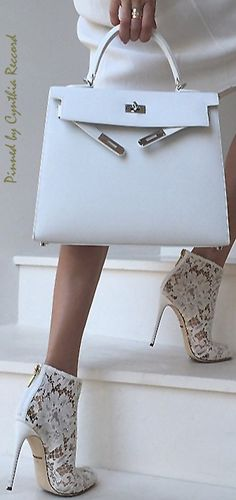 Hermes Kelly Bag and Dolce & Gabbana Lace Booties | cynthia reccord