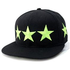 Black Star Embroidery Snapback Cap ($14) ❤ liked on Polyvore