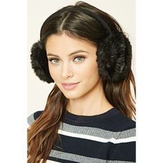 Forever21 Faux Fur Ear Muffs (€5,64) ❤ liked on Polyvore featuring accessories, black, faux fur earmuffs and forever 21