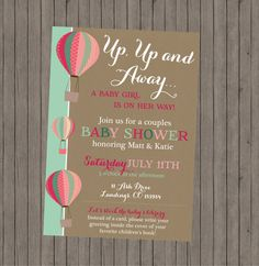 Up Up and Away Baby Shower Invitation  Girl by bellapapercompany