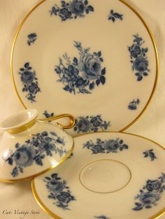 Vintage Trio set Tea cup saucer and plate by CatsVintageStore