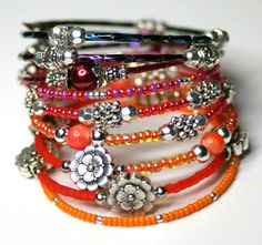 Multiple Bracelets. Wrap Bracelet .Hippy Style Bangle. Layered Bangles. Bollywood Bracelet.  Bright Colors. Beaded Bangle.