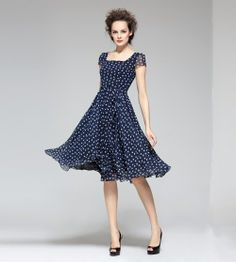 Love the tiny polkadots and the floaty looking skirt on this one.  Anything with a square neckline always suits me.