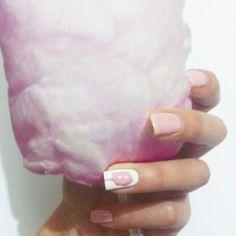 Cotton candy, pink, nail