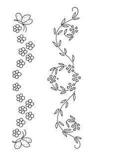Hand Embroidery Design Patterns, Hand Embroidery Flowers, Baby Embroidery, Flower Embroidery Designs, Hand Embroidery Stitches, Vintage Embroidery, Flower Line Drawings, Couture, Printable Vintage