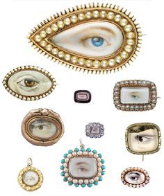 A Selection of Eye Portrait Jewels, C. wealthy british and european lovers exchanged 'eye miniatures'. The jewels were meant to be worn inside the lapel or bosom near the heart. Eye Jewelry, Jewelry Art, Antique Jewelry, Vintage Jewelry, Jewelry Design, Lovers Eyes, Miniature Portraits, Object Lessons, Sterling Silver Necklaces