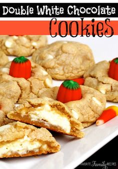 These Double White Chocolate Chip Cookies are so chewy and delicious! Add candy corn or pumpkins to make them Halloween style.