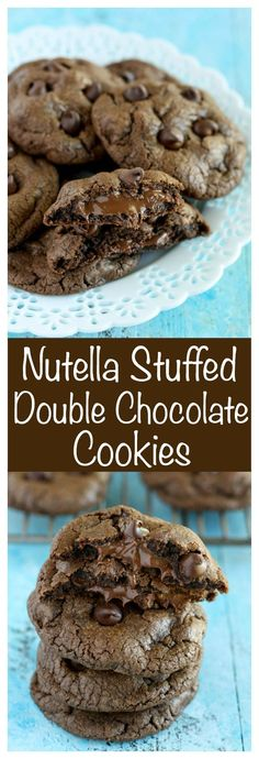 Nutella Stuffed Double Chocolate Cookies: