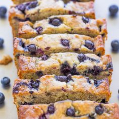 This Blueberry Banana Zucchini Bread is so moist and flavorful thanks to the blueberries and banana. I guarantee this will be your new favorite quick bread! Blueberry Zucchini Bread, Little Muffins, Brunch, Quick Bread, Sweet Bread, Cooking Recipes, Bread Recipes, Vegetarian Recipes, Xmas