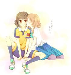 #anime #shindou #takuto #shindoutakuto #akane #yamana #akaneyamana #shindouxakane #love #couple #inazumaeleven #inazumaelevengo #photo #kiss