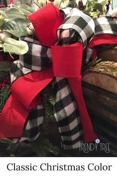 Classic Christmas red and buffalo check great for casual comfortable cozy Classic Christmas red and buffalo check great for casual comfortable cozy Christmas decorating. Shop Trendy Tree online for beautiful ribbons for bows. Christmas Bows, Black Christmas, Diy Christmas Tree, Outdoor Christmas Decorations, Christmas Centerpieces, Rustic Christmas, Christmas Ideas, Merry Christmas, Christmas Mantles