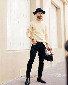 Winter Outfits Men, Stylish Mens Outfits, Casual Outfits, Men Casual, Casual Styles, Paris Outfits, Neue Outfits, Men Looks, Fedora Outfit