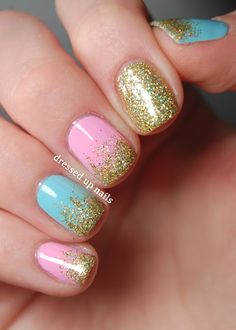 Solid Pink and blue pastel nails with an accent nail in solid glitter & tips dipped in gold glitter - easy free hand nail art.