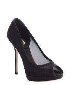 60504ebf04fcc Christian Diorblack mesh peep toe pumps High Heel Pumps