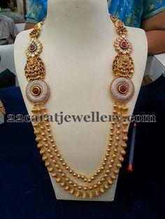 Jewellery Designs: Lakshmi Motifs Kundan Haram