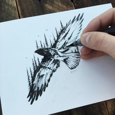 Tree Eagle. Injection of Inspiration in Diverse Drawings. To see more art and information about Sam Larson click the image.