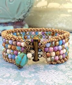Colorful Czech Charm Cuff ~Antique-styled Pastel Pretty Bracelet ~ Summer Ocean Vintage Fashionista ~ Mermaid Chic by Country Chic Charms