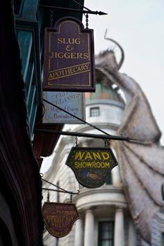 A Magical Look Inside Diagon Alley at Universal Studios, Orlando: http://www.davonnajuroe.com/magical-look-inside-diagon-alley-universal-studios-orlando/ #HarryPotter #DiagonAlley #UniversalStudios #Orlando #Signage