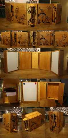 Dungeon master or storyteller screen made out of wood. The whole is about 110 cm long if fully set up. It all wraps up into a small case about 24 cm long, 11cm wide and 32 cm high.