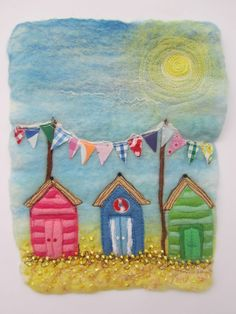 "Jo Felts - lovely felt pictures at this year's Salisbury Christmas Market Jo will be in the ""Sandie Blue and Friends"" chalet. Wet Felting Projects, Needle Felting Tutorials, Felt Pictures, Fabric Pictures, Free Motion Embroidery, Free Machine Embroidery, Fabric Cards, Felt Art, Felt Crafts"