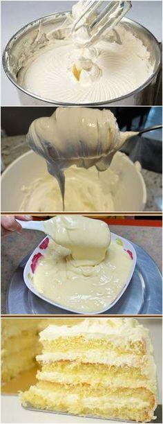 ESSE CREME DEIXA SEU BOLO SUPER ESPECIAL!!(CREME DE LEITE NINHO) VEJA AQUI>>>Em uma batedeira, bata bem a manteiga com o leite condensado Acrescente o leite em pó aos poucos e continue mexendo por mais alguns #receita#bolo#torta#doce#sobremesa#aniversario#pudim#mousse#pave#Cheesecake#chocolate#confeitaria Other Recipes, Sweet Recipes, Cake Recipes, My Favorite Food, Favorite Recipes, Portuguese Recipes, Pastry Cake, Ice Cream Recipes, Chocolate Recipes