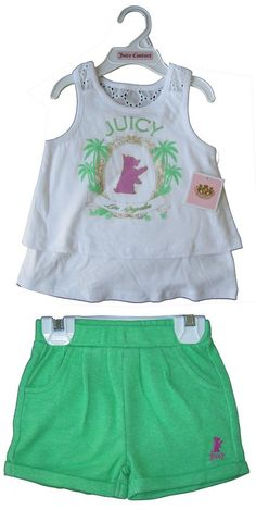 Juicy Couture Baby Girl's 2 Peices Shorts Summer White Tank Top Set 6 - 12 M
