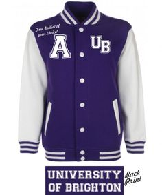 Printed with high quality Raised Flock front and back Free initial of your choice if required Contrast sleeves Knitted collar cuffs and waistband Collar And Cuff, Brighton, Initials, Cuffs, Contrast, University, Printed, Purple, Sleeves