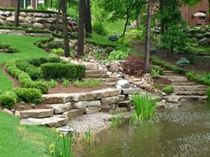 Amazing-Garden-Landscape-Ideas-With-Rumblestone-Beds-And-Pond-Streams-With-Green-Low-Plant-Inspiring-Beautiful-Garden-Design-Ideas. Small Gardens, Outdoor Gardens, Amazing Gardens, Beautiful Gardens, Landscaping A Slope, Landscaping Ideas, Landscape Design, Garden Design, Michigan