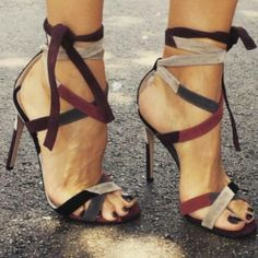 Wine, beige, black strappy stilettos