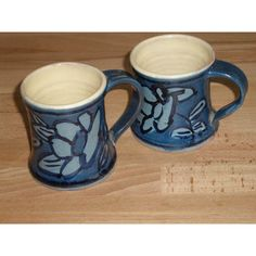Two Pilsdon Studio Pottery Blue Patterned Mugs Listing in the Studio/Handcrafted Pottery,Pottery,Porcelain, Pottery & Glass Category on eBid United Kingdom | 150795158