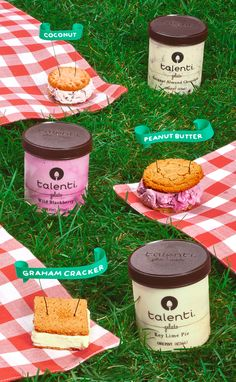 TALENTI GELATO SANDWICHES! They might not be practical to bring on a picnic, but since when was Pinterest 100% practical? Shown here are: 1. Coconut macaroon cookies + Talenti Coconut Almond Chocolate gelato; 2. Soft peanut butter cookies + Talenti Wild Blackberry gelato; 3. Graham crackers + Talenti Key Lime Pie gelato.