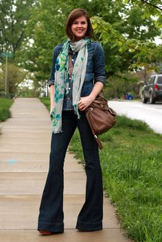 What I Wore, WhatIWore, Jessica Quirk, tumblr fashion blog, Fashion Blog, Fashion Bloggers, How to wear denim on denim, how to wear bell bottom jeans, how to wear a summer scarf